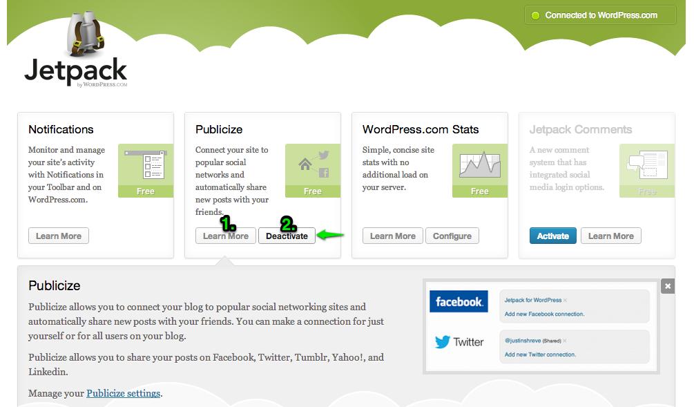 screenshot of disabling the publicize module