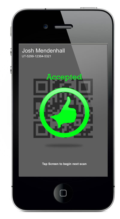 iPhone Ticket Scanner - Accepted Screen