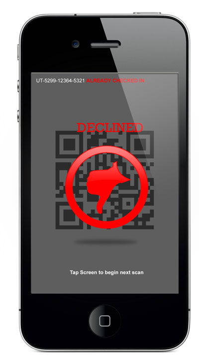 iPhone Ticket Scanner - Declined Screen