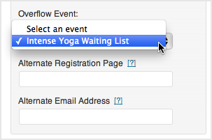 Select your waiting list from the overflow event dropdown