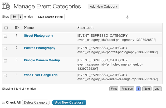 Manage Categories Page