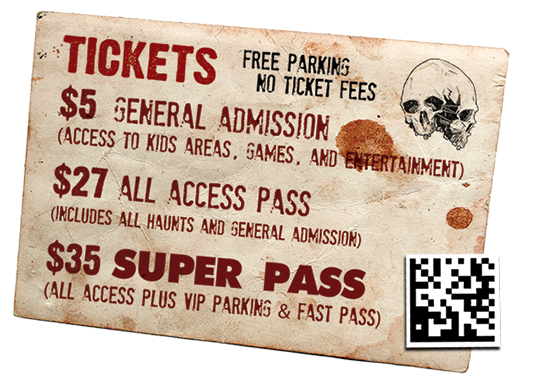 haunted house ticketing - custom ticket
