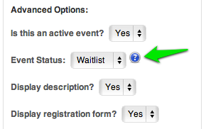 assign the event as a waitlist