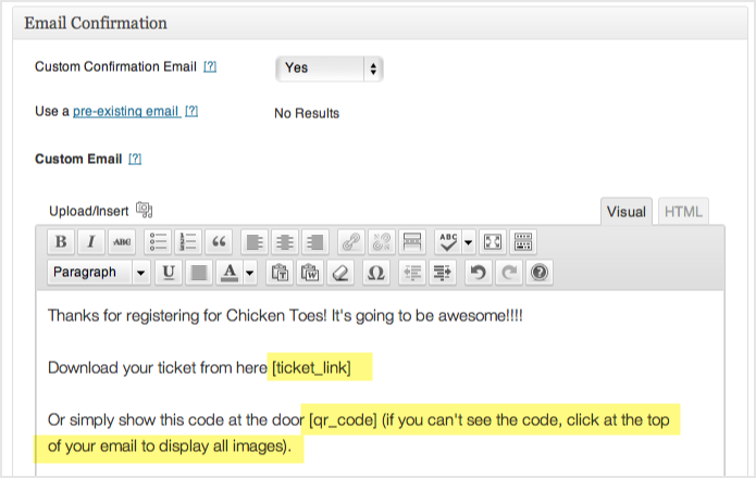 the custom email with the QR code and ticket shortcode inserted