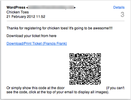 a screenshot of the email that attendees will receive