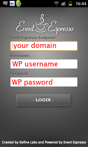 the event espresso login screen on an android phone