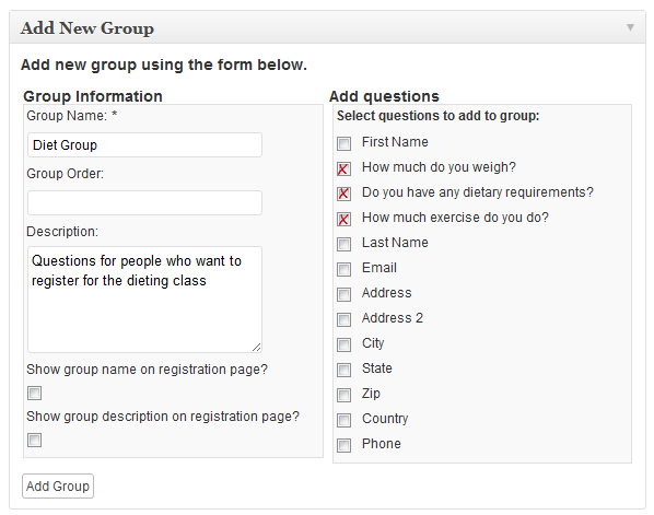 Select which questions you want to add to the question groups